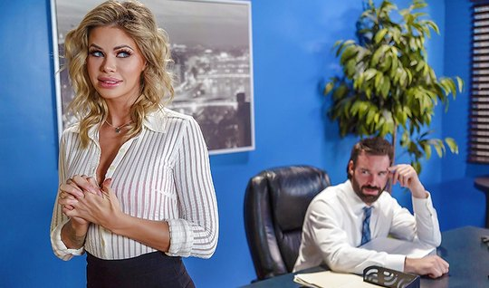 The boss Fucks Horny Secretary in the office on a small table...