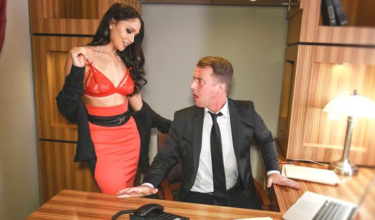 Strong man pulls luxury Secretary with a perfect figure...