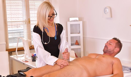Blonde nympho jerked off a patient phallus and sat on the member...