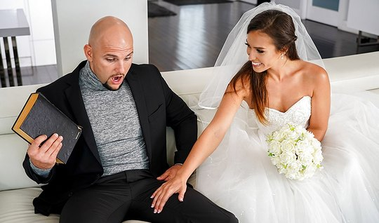 Bald guy Fucks a dark-haired bride in white dress and brings her to or...