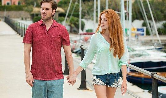 Redhead girlfriend seduced guy beautiful sex after a walk...