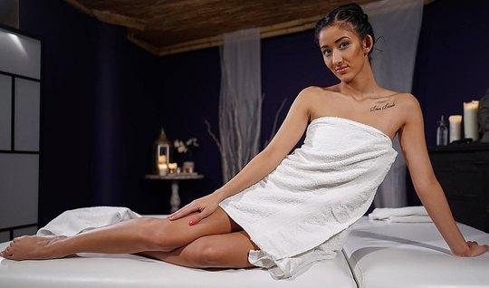 A massage therapist after a session of fuck slim brunette on the deskt...