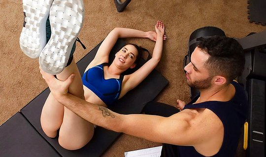 Horny coach fucked sexy brunette in the position of cancer...