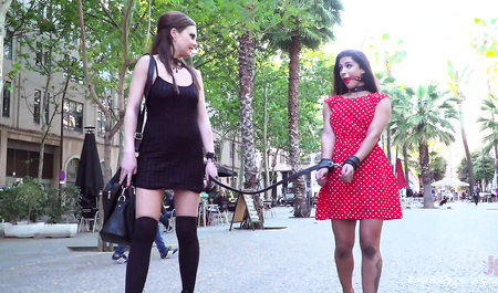 Liberated beauty indulges my submissive girlfriend in public