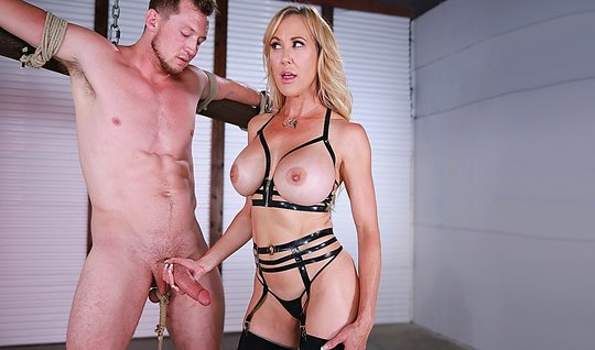 Blonde nymph dominates the associated partner and jerks off his dick...