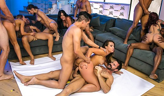 Hot girl at party getting fucked with friend in an Orgy...
