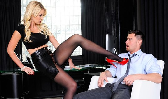Business blonde in leather skirt clings to the boss and spreads her le...