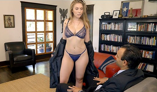 Girl in sexy lingerie suck a business man in office...