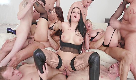 A group of men fuck a delicious fatties in lingerie...
