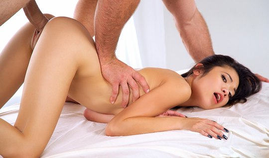 Skinny Asian girl moans loudly sex with a guy in the pose of cancer an...