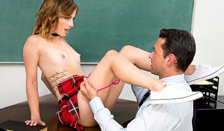 The man Fucks skinny student on the table and enjoying her slender bod...