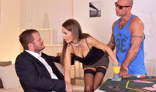 Brunette in stockings after poker game Fucks with two men