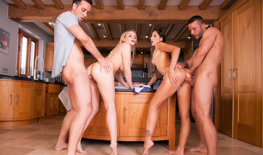 After the pool, Swingers in the kitchen staged a passionate laid