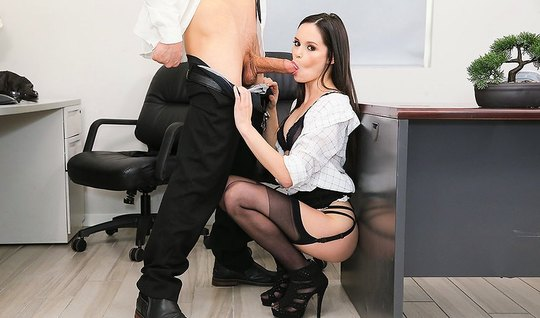 Secretary in stockings vagina substitutes for good spanking in the off...