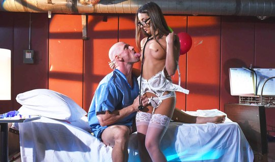 Bald man caressed his bolt body brunette in stockings
