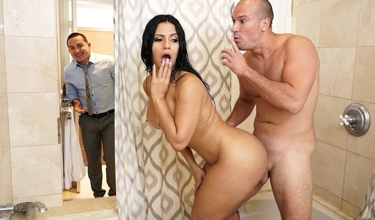 Man fuck Busty neighbor in the bathroom while her husband was in the o...