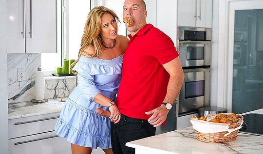 Stepmom with big Tits asked her stepson to fuck her hole...