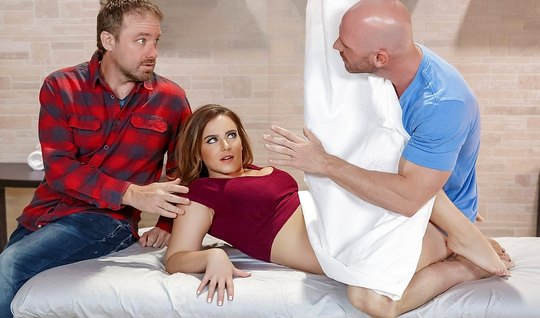 Brutal bald guy fuck another mans wife, making her cunt and squeezing ...