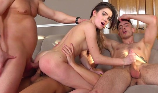 Three Russian guy stretch the anus, throat and pussy model with grey s...