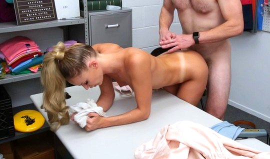 In the office, a strong man fucks a slender blonde with cancer and pou...
