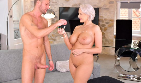 Fat blonde fucks hard with a robber and drinks his delicious cum...