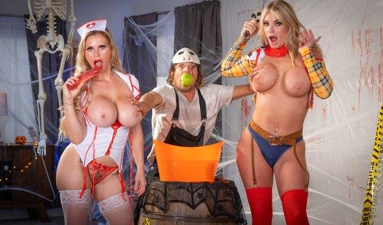 Moms show big tits at a party and want a hard gangbang...