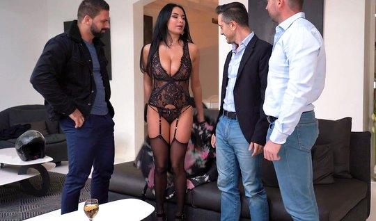 Guys arrange DP in the ass for a passionate dark-haired friend