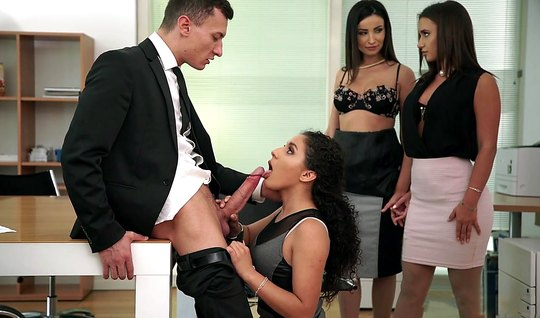 Group sex in the office with three girls frees the directors balls fro...