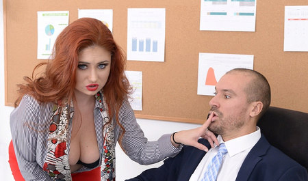 The guy bent redhead the fat girl and fucked in the office